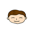 smiling boy face icon happy man handdrawn vector image