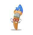 super hero paint brush character cartoon vector image