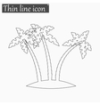 Tropical palm trees icon Style thin line vector image