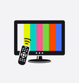 tv and remote control icon with test pattern vector image vector image