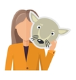 Woman Character in Jacket with Wolf Mask in Hand vector image vector image