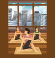 women doing yoga vector image