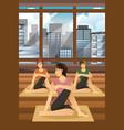 women doing yoga vector image vector image
