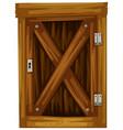 wooden door on white background vector image vector image