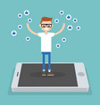 young successful boy standing on mobile screen vector image vector image