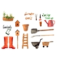A set watercolor of gardening tool vector image