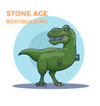 hand drawn cartoon tyrannosaur shows his biceps vector image