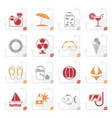 stylized summer and beach icons vector image