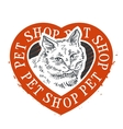 pet shop logo design template cat head or vector image