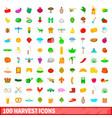 100 harvest icons set cartoon style
