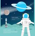 astronaut with spaceship surveying around uranus vector image