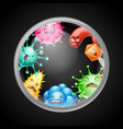 background with little angry viruses vector image