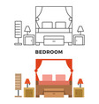 bedroom concept - flat style and line style vector image vector image