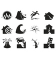 black earthquake icons set vector image vector image