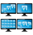 Black monitors with protect screen vector image vector image
