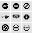 black stop icon set vector image
