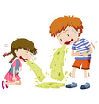 Boy and girl vomitting vector image