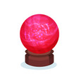 bright red magic sphere with pink glowing inside vector image