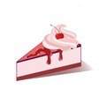 Cake slice with cherry cream vector image