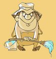 cartoon funny painter with brush and bucket vector image vector image