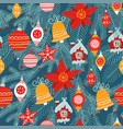 christmas seamless pattern traditional xmas vector image