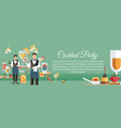 cocktail party with appetizers banner template vector image