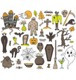 colorful set with hand-drawn halloween doodles vector image vector image