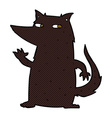 comic cartoon wolf waving vector image vector image