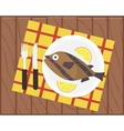 Cooking Fish Recipe Card Design Flat vector image