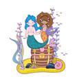 couple mermaids with treasure chest undersea vector image vector image