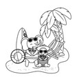 cute animals enjoying summer vacations vector image