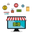 e-commerce monitor pc money isolated design vector image vector image