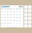 english calendar 2019 vector image vector image