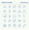 essential element 25 doodle icons hand drawn vector image vector image