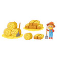 farm set with hay and farmer vector image