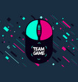 game team emblem glitch style background vector image vector image