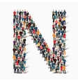 group people shape letter N vector image