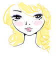 hand-drawn cute girl face with messy blond hair vector image vector image