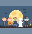 happy halloween costume characters mummy pumpkin vector image vector image