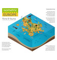 isometric 3d european flora and fauna map vector image vector image