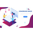 isometric coworking space people discussing ideas vector image vector image