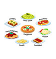 italian traditional food set lasagna with melted vector image vector image
