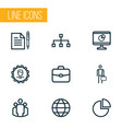 job icons line style set with work man hierarchy vector image vector image
