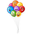many balloons with facial emotions vector image vector image
