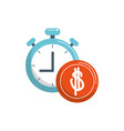 money business financial stopwatch coin color tone vector image