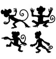 monkey moves silhouette cartoon vector image