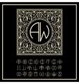 monogram elegant line art logo design vector image