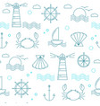 nautical seamless pattern with thin line elements vector image