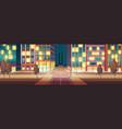 night city illuminated street empty road vector image