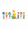 Nursery teacher with children - cartoon people